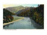 Rogue River, Oregon - River Scene Near Gold Beach Poster von  Lantern Press
