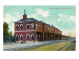 Topeka, Kansas - Exterior View of the Santa Fe Train Depot Prints by  Lantern Press