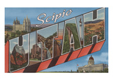 Scipio, Utah - Large Letter Scenes Art by  Lantern Press