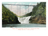 Portage, New York - Letchworth Park, View of Upper Falls and the Bridge Poster by  Lantern Press