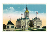 Hartford, Connecticut - Capitol Building and Petersburg Express Train Monument Prints by Lantern Press 