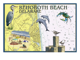 Rehoboth Beach, Delaware - Nautical Chart Poster by  Lantern Press