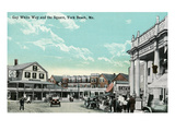 York Beach, Maine - Gay White Way and the Square Scene Posters by  Lantern Press