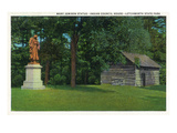 Letchworth State Park, New York - View of the Mary Jemison Statue, Indian Council House Prints by Lantern Press