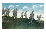Camp Life - Soldiers Run over and Down Hill Scene Prints by Lantern Press 