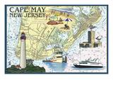 Cape May, New Jersey - Nautical Chart Affiches par  Lantern Press