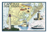 Cape May, New Jersey - Nautical Chart Prints by  Lantern Press