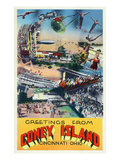 Cincinnati, Ohio - Coney Island Amusement Park Greetings Prints by  Lantern Press