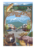 Whitefish, Montana Town Views Prints by  Lantern Press