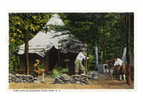 Allegany State Park, New York - Scenic View of a Family Camping in the Park Poster por  Lantern Press