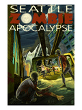Seattle Zombie Apocalypse Kunstdruck von  Lantern Press