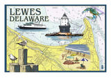 Lewes, Delaware - Nautical Chart Prints by  Lantern Press