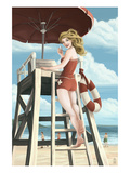 Pinup Girl Lifeguard Art by  Lantern Press