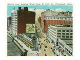 Cleveland, Ohio - Euclid Avenue West from 14th Street East Poster von  Lantern Press