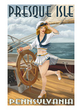 Presque Isle, Pennsylvania - Pinup Girl Sailing Posters by  Lantern Press