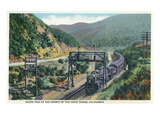 California - View of a Train in Cajon Pass Poster by  Lantern Press