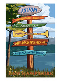 Antrim, New Hampshire - Destination Sign Posters by Lantern Press