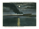 Key West, Florida - Key West Extension Train at Night Prints by  Lantern Press