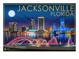 Jacksonville, Florida - Skyline at Night Posters by  Lantern Press