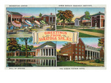Saratoga Springs, New York - Scenic Sites in the Town Print by  Lantern Press
