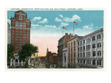 Hartford, Connecticut - Trust Building Exterior from Main Street Posters by Lantern Press 