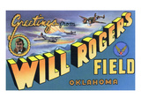 Oklahoma - Will Rogers Field, Large Letter Scenes Láminas por , Lantern Press