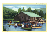 Allegany State Park, New York - View of Tourists Canoeing by the Boat House Print by  Lantern Press