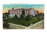 Minneapolis, Minnesota - Exterior View of Central High School Print by  Lantern Press