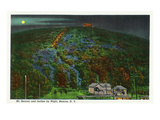 Beacon, New York - View of Mt. Beacon and Incline Rail at Night Art by  Lantern Press