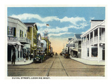Key West, Florida - Duval Street West Scene Print by Lantern Press