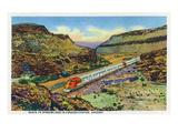 Arizona - Santa Fe Train Passing Through Crozier Canyon Kunstdrucke von  Lantern Press