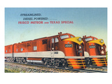 Texas - View of the Frisco Meteor and Texas Special Trains Affiches par Lantern Press 