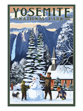 Yosemite Chapel and Snowman - Yosemite National Park, California Poster by  Lantern Press