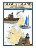Block Island, Rhode Island - Nautical Chart Kunstdruck von  Lantern Press