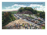 Great Smoky Mts. Nat'l Park, TN - General View of a Crowded Newfound Gap Parking Area Prints by Lantern Press