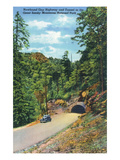 Great Smoky Mts. Nat'l Park, TN - Newfound Gap Highway, View of a Car Exiting a Tunnel Prints by  Lantern Press