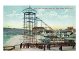 Long Beach, California - Pier View of the Pike Poster von  Lantern Press