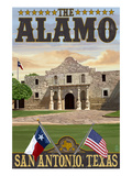 The Alamo Morning Scene - San Antonio, Texas Prints by  Lantern Press