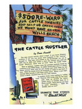 The Cattle Rustler Storiette, 500 Dollar Reward Sign Posters by  Lantern Press