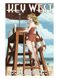 Key West, Florida - Lifeguard Pinup Girl Posters by  Lantern Press
