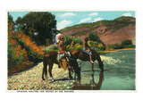 New Mexico - Apache Natives on Horseback Stop for Water at Rio Navajo Affiche par  Lantern Press
