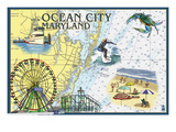 Ocean City, Maryland - Nautical Chart Prints by Lantern Press 