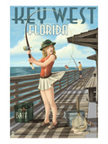 Key West, Florida - Fishing Pinup Girl Prints by Lantern Press 