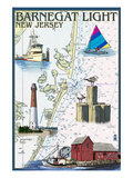 Barnegat Light, New Jersey - Nautical Chart Poster by  Lantern Press