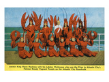 Atlantic City, New Jersey - Lobster King Harry Hackney with Lady Lobsters Premium Giclée-tryk af  Lantern Press