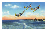 Jacksonville, Florida - US Navy Bombers over the Beach Print by  Lantern Press