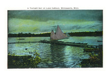Minneapolis, Minnesota - Twilight Scene on Lake Calhoun, Sailboat Posters by  Lantern Press