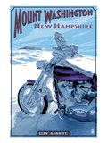 Mt. Washington, New Hampshire - Motorcycle in Snow Print by  Lantern Press