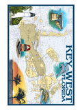 Key West, Florida - Nautical Chart Prints by  Lantern Press