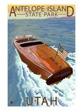 Antelope Island State Park, Utah - Wooden Boat Poster by  Lantern Press